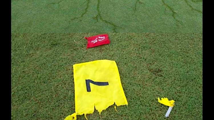 Eagle Creek Golf Club shredded flag