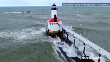 Winter taking ahold of Lake Michigan coast shoreline