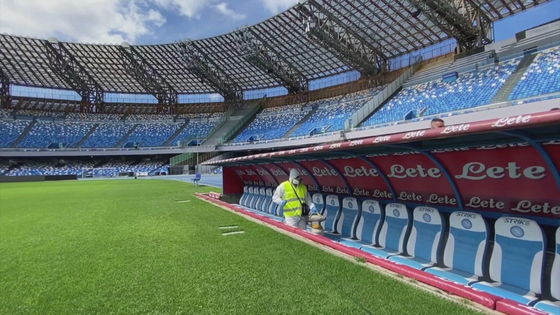Italian Soccer Stadium Cleaned Sanitized Ahead Of Coppa Italia Semi Final Matches Kare11 Com