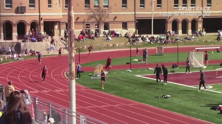 Dog wins relay race at high school track meet