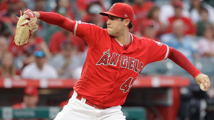 Los Angeles Angels starting pitcher Tyler Skaggs June 29 pitching