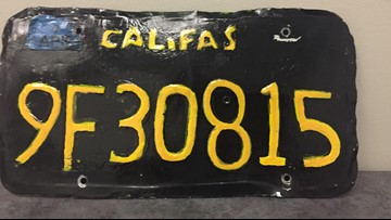 This fake license plate got an officer's attention and the driver arrested
