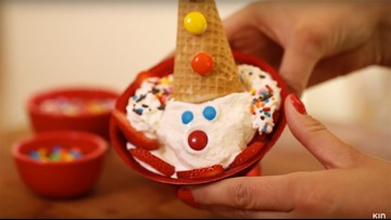 How to make a clown ice cream sundae for National Sundae Day!