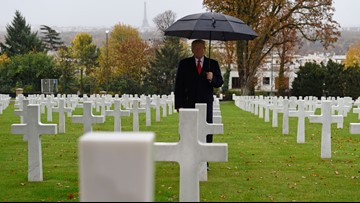 President Trump blames Secret Service for canceling cemetery trip in France