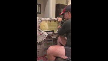Woman makes gift from years of sticky notes from stepdad