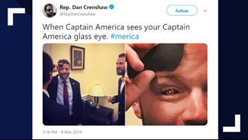 Rep. Dan Crenshaw shows off his Captain America-inspired glass eye with Chris Evans