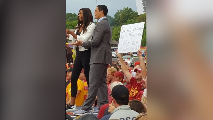 Iowa State fan's viral sign asking for beer money leads to good cause
