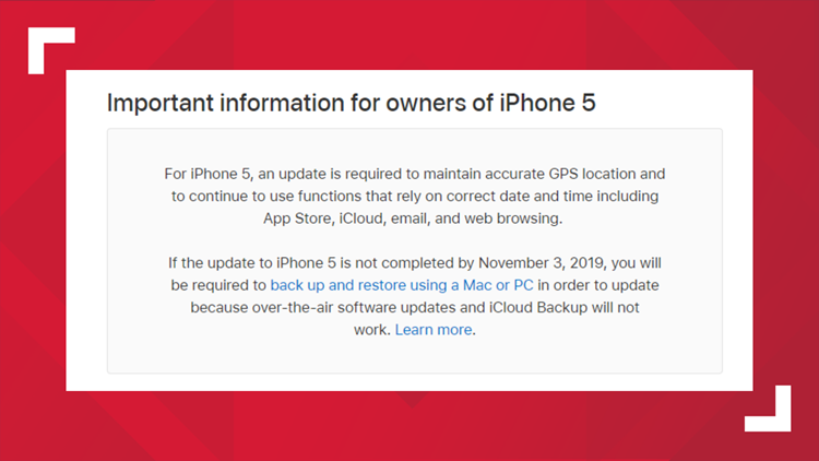 APPLE notice for iPhone 5 users