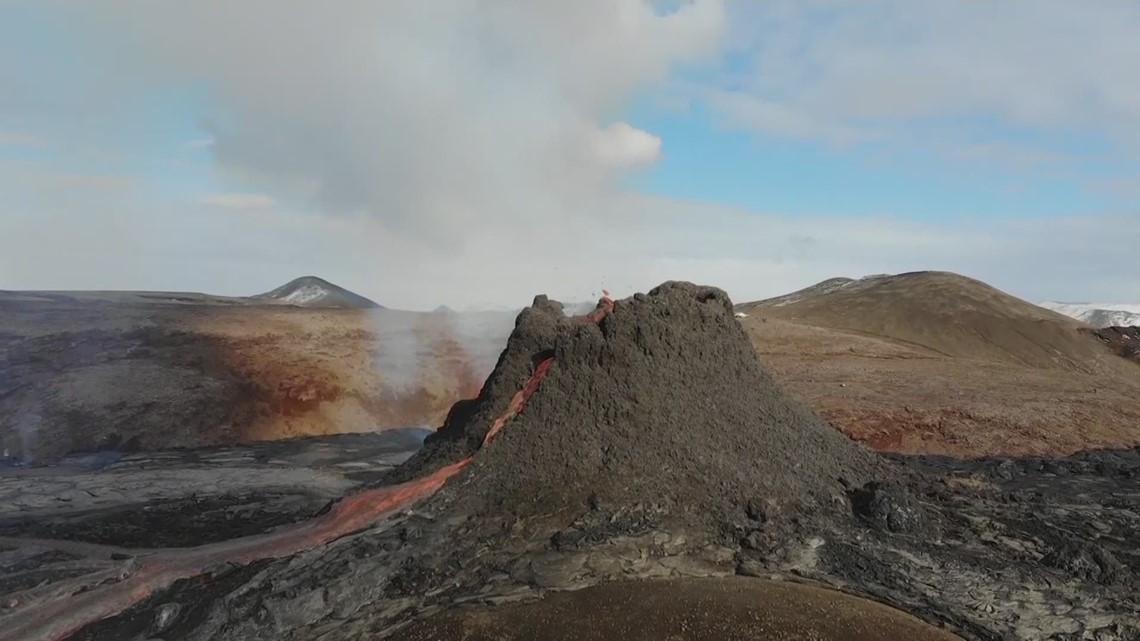 Drone video of Iceland volcano erupting lava