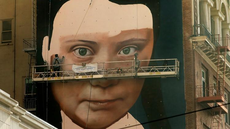 APTOPIX Greta Thunberg Mural