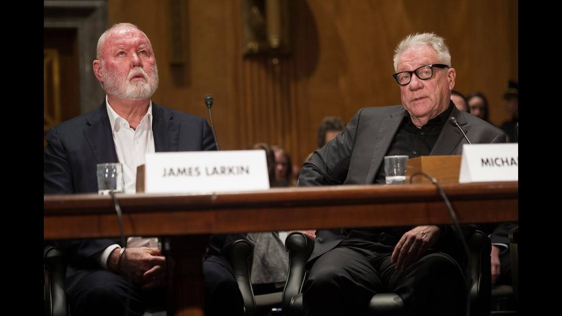 Former Backpage Com Owners James Larkin Left And Michael Lacey Appear On Capitol Hill In Washington On Jan 10 2017 Before The Senate Homeland