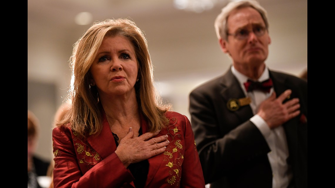 U S Senate Candidate Marsha Blackburn Sings The National Anthem At The Williamson County Republican Party Annual Reagan Day Dinner Friday Feb