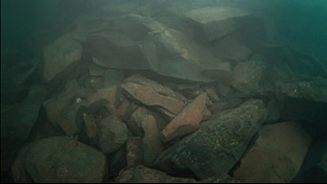 Underwater shots show toppled Lake Superior 'sea stack'