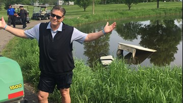Randy Shaver drives golf cart into pond at #RSCRCF Classic