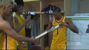 Gophers locker room celebration