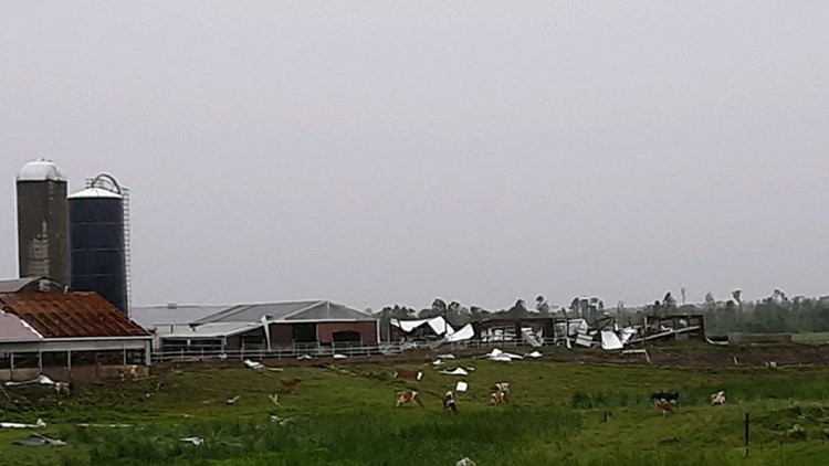 Idle Gold Guernsey Farm sustained heavy damage during Friday's severe weather.