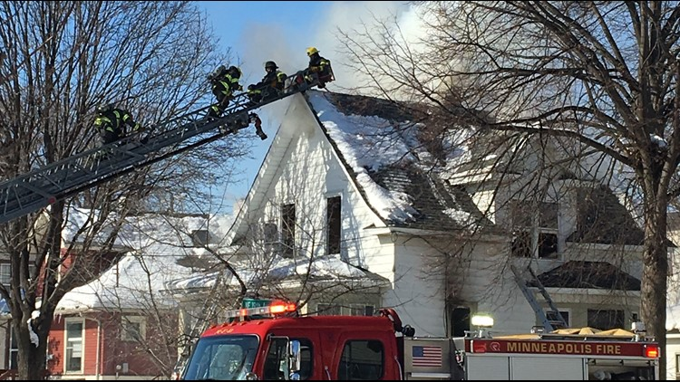 3 firefighters flee burning home in Mpls.