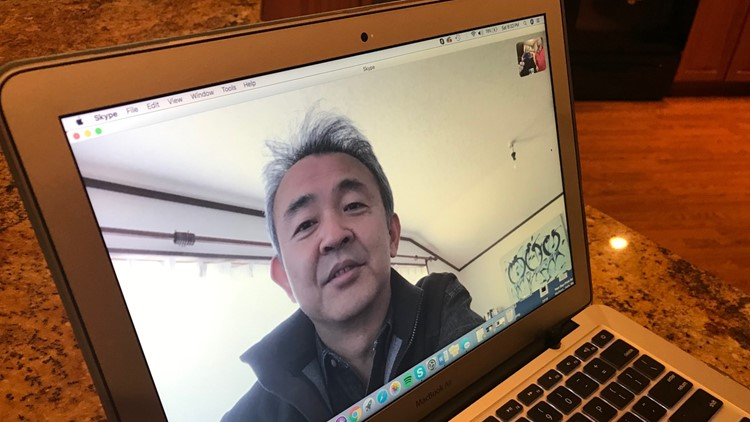 Yano Takashi speaks via Skype with the Traxler family and Jeff Fowler.