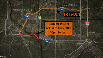 I-94 closing overnight between Minneapolis and St. Paul