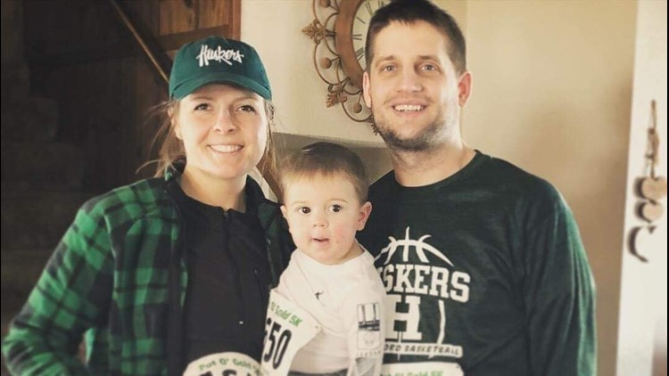The Myers family in Holdingford gear