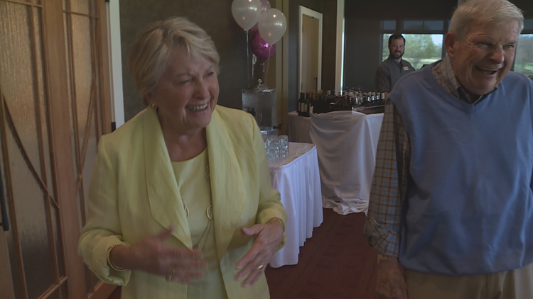 Eileen Ivory with her husband, Dan, who surprised her.