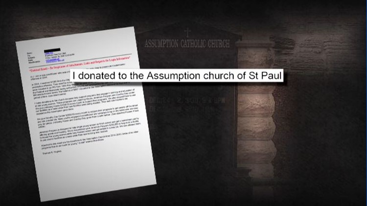 Hughes tells KARE 11 he donated the fine money he received to Assumption church of St Paul.