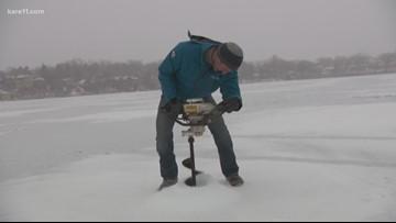 Ice fishing on Lake Owasso