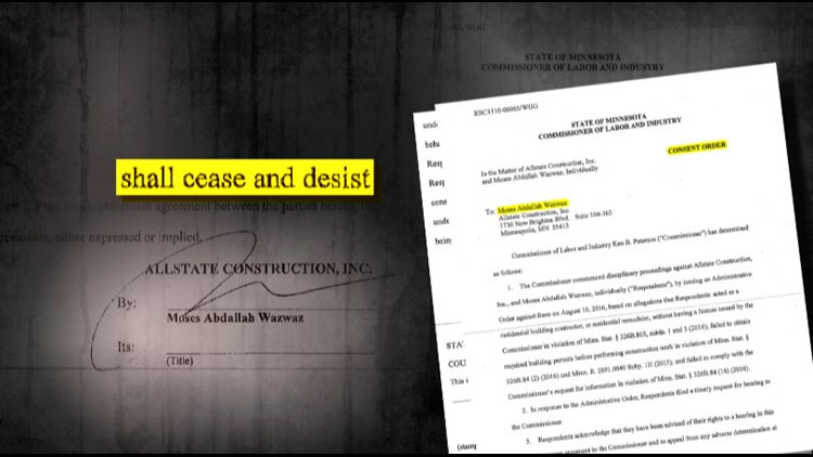 Records show Moses Wazwaz had signed a consent order banning him from residential contracting before he took KatieMae's money.