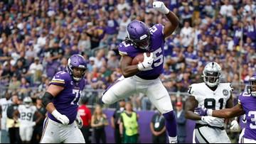 NFL rushing leader Cook leads Vikes romp past Raiders 34-14