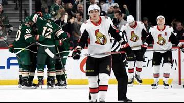 Wild use 3-goal burst to rout Senators