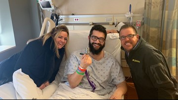 Two 'angels' stop on I-494 to help crash victim