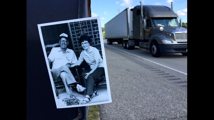 Louise Spencer with her late husband Leo White, a truck driver who inspired her to drive a truck herself
