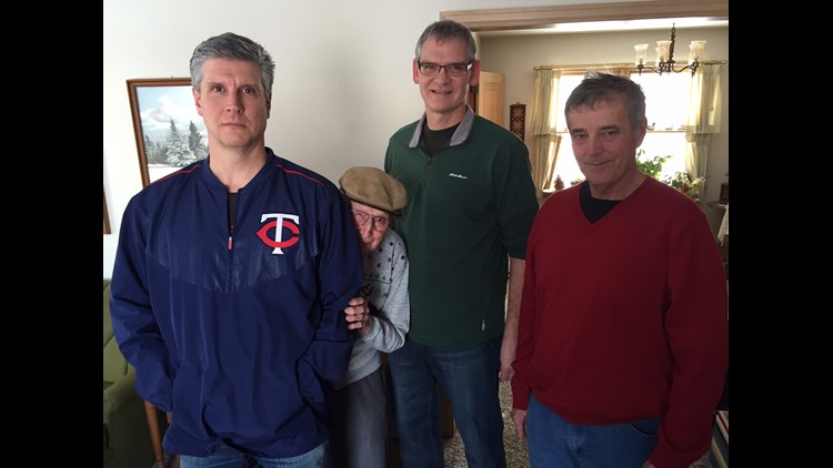 Dean Brinkman (left), Len Youngman, Scott Surprenant & Randy Krzmarzick recreate historic photo of Babe Ruth Sleepy Eye game