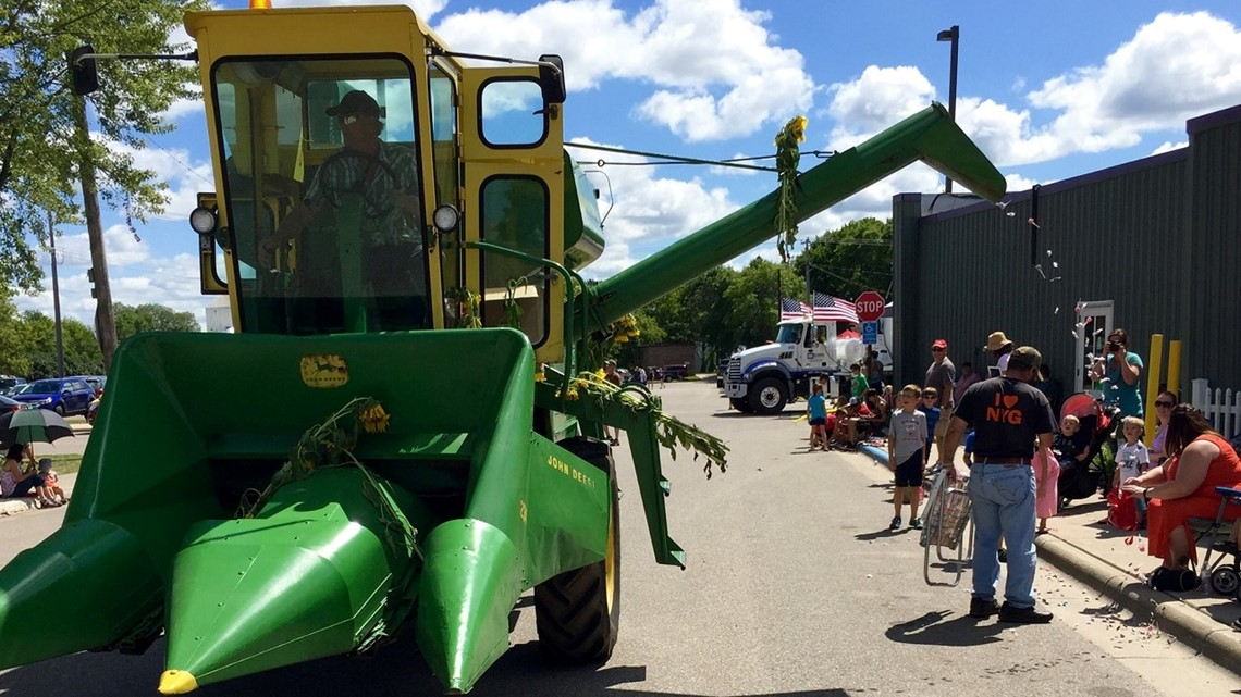 Farmer turns his combine into candy dispenser