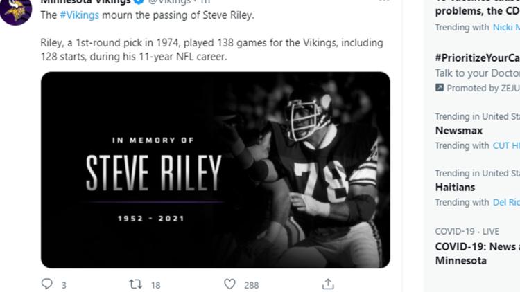 Former Vikings offensive lineman Steve Riley dies at 68