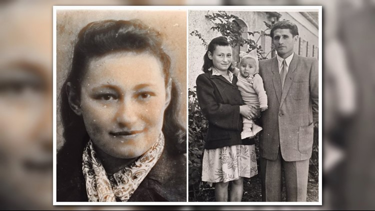 Left: Photo of Ester Begam taken after the WWII. Right: Esther Begam with her husband Israel and Daughter Faye.