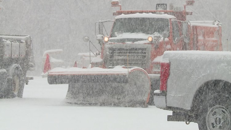 Snow plow in the snow