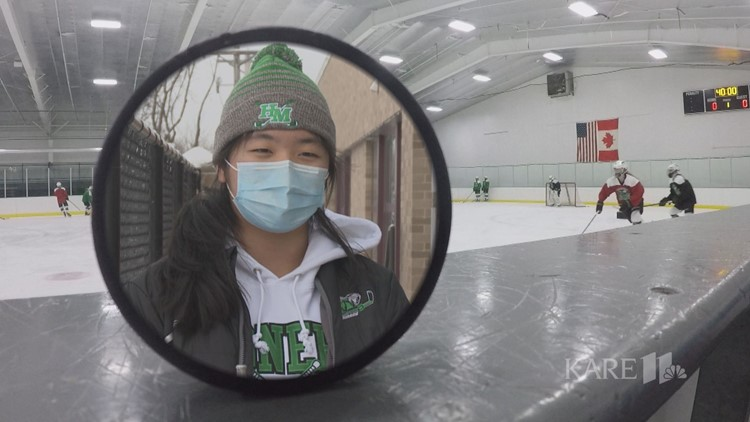 Goalie from China, Grace Zhan leads Hill-Murray girls hockey