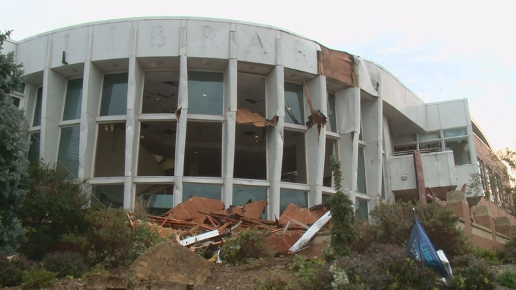 Hudson Library heavily damaged in overnight storms