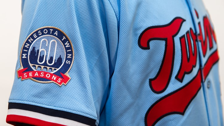 The 60th Season patch on the Twins' alternate uniform for 2020.