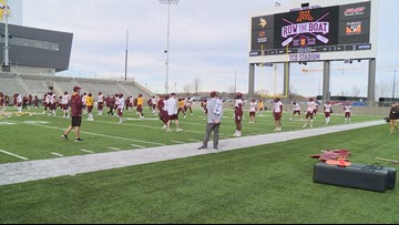 Gopher football team practices at TCO Performance Center