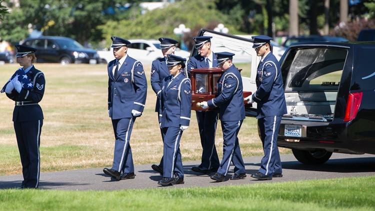 Air Force honor guard escorts the remains of Capt. John Ponikvar