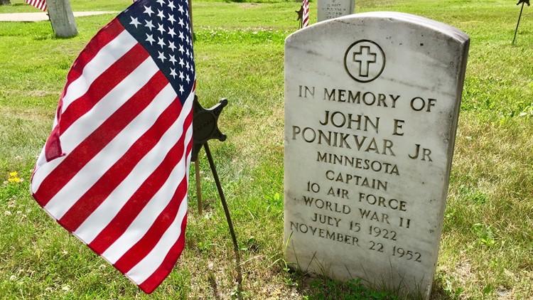Memorial marker for John Ponikvar at Calvary Cemetery in Chisholm, Minnesota