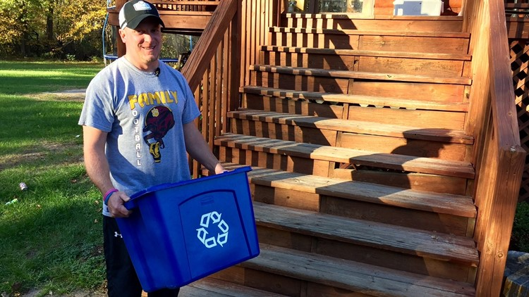 Chris Berent, a teacher at Pillager High School, is one of Noah Brugle's recycling customers