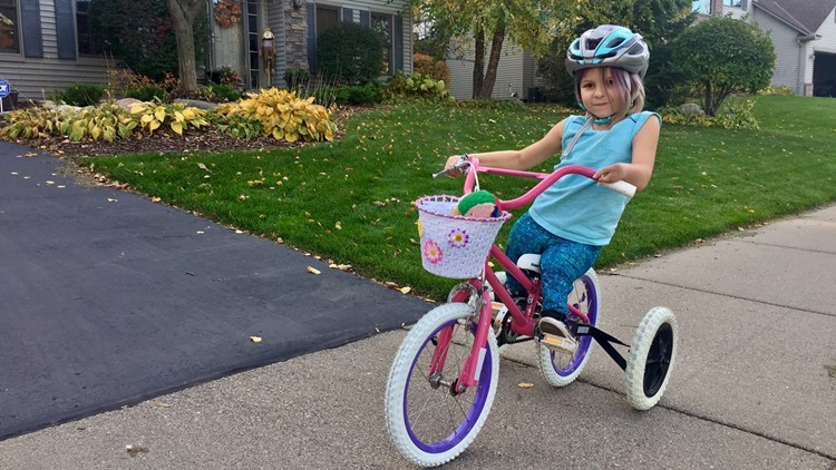 Layla Welch on her bike rebuilt by Jack Carlson