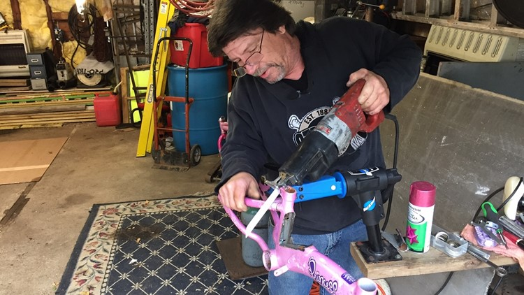 Jack Carlson cuts down a princess bike