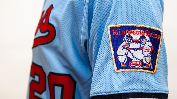 """The """"Minnie and Paul"""" patch on the Twins' alternate uniform for 2020."""