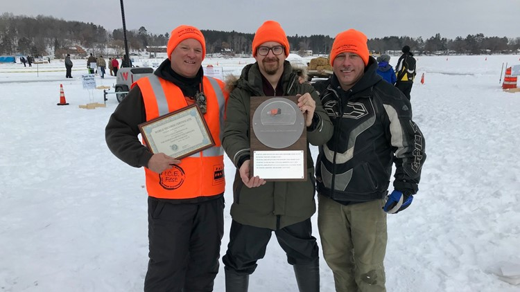 Chuck Zwilling (left) builder of the new world-record-setting ice carousel.  Pictured with Janne Käpylehto (center) and Roger Morneault, both previous world record holders.