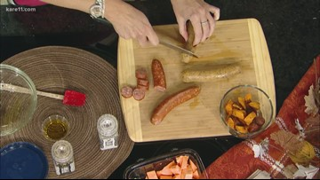 RECIPE: Sausage and sweet potato skewers