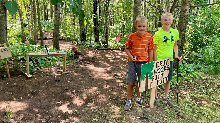 Two 11-year-olds make most of summer vacation, build woodsy mini-golf course